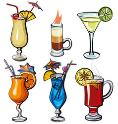 Alcohol cocktails vector