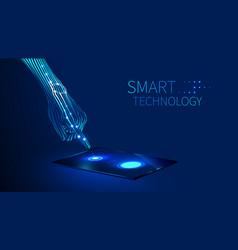 Hand smart technology vector