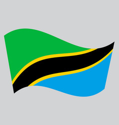 Flag of tanzania waving on gray background vector