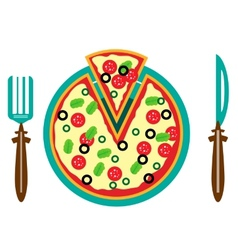 Picture of plate with pizza vector
