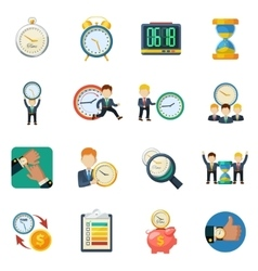 Time managment flat icons set vector
