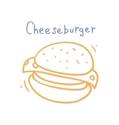 Cartoon cheeseburger minimal style design vector
