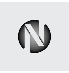 Letter n made of wide white stripes vector
