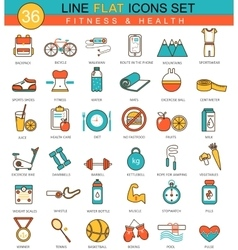 Fitness and health flat line icon set vector