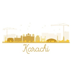 Karachi city skyline golden silhouette vector
