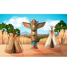Scene with teepee and totem pole vector