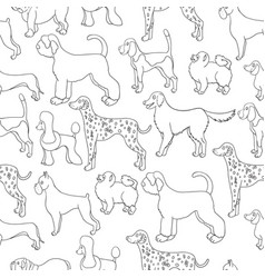Awesome seamless pattern with cartoon dogs vector