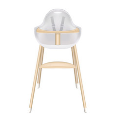 Baby high chair with seat belts isolated on a vector
