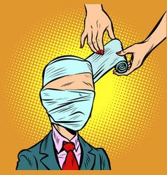 Bandaged head medical assistance vector