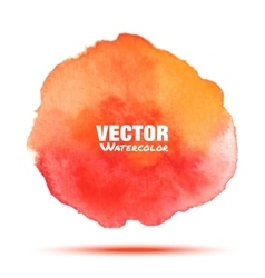 Bright red orange watercolor stain vector