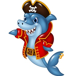 Cartoon shark pirate presenting isolated vector