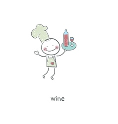 Chef and wine vector image