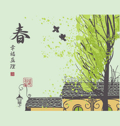 Chinese spring landscape with roof tree and birds vector