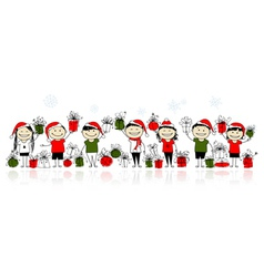 Christmas gifts Happy friends together vector image
