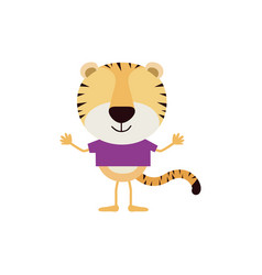 Colorful faceless caricature of tiger with t-shirt vector