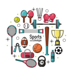 Colorful poster of sports lifestyle with sports vector
