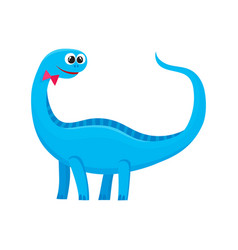 cute and funny smiling baby brontosaurus dinosaur vector image vector image