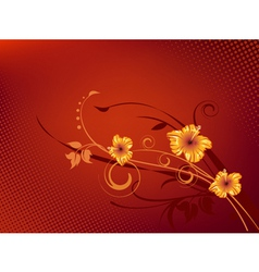 detailed flowers in red background vector image