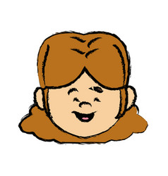 Face girl young little character female person vector