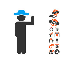 Gentleman vote icon with dating bonus vector