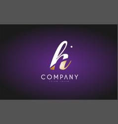 h alphabet letter gold golden logo icon design vector image vector image