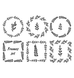 hand drawn vintage set of 6 round and square vector image