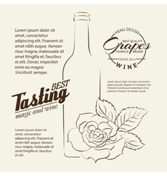 Handwritten wine tasting sign vector image