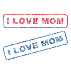 I love mom textile stamps vector