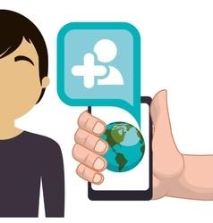 Man world smartphone bubble speech add vector