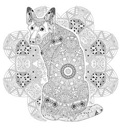 Mandala with dog for coloring decorative vector