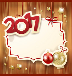 New year background with label baubles and text vector