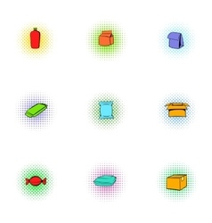 Packing icons set pop-art style vector