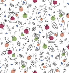 pattern on fresh fruit and glasses vector image