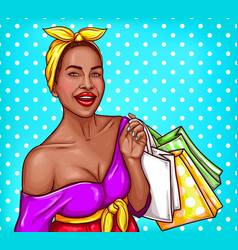 pop art of a black woman vector image vector image
