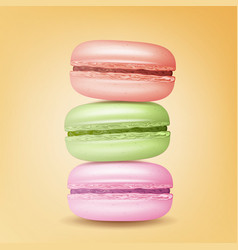 Realistic macarons sweet french macaroons vector