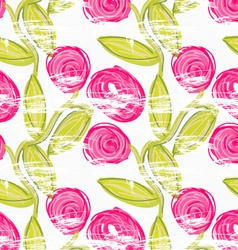 Rough brush pink rose flowers in green vine vector
