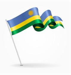 rwandan pin wavy flag vector image