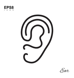 Simple Human Ear Icon vector image