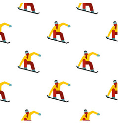 Snowboarder on the snowboard deck pattern seamless vector