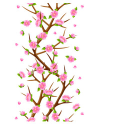 Spring seamless pattern with branches of tree and vector