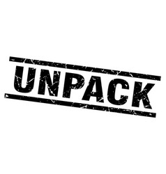 Square grunge black unpack stamp vector