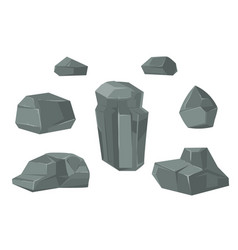stones and rocks cartoon boulders set vector image