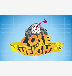 Text lose weight with weigh scale and measure tape vector image vector image