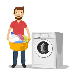Unhappy young man standing next to washing machine vector