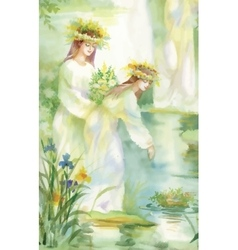 Watercolor fairy woman with flowers vector