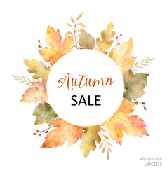 Watercolor sale frame of leaves and vector