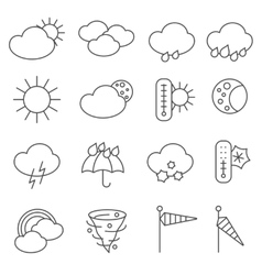 Weather forecast symbols icons set line vector