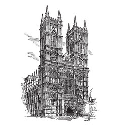 Westminster abbey or collegiate church vintage vector
