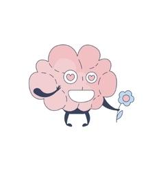 Brain in love comic character representing vector