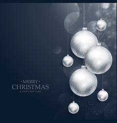 Realistic hanging christmas balls decoration on vector